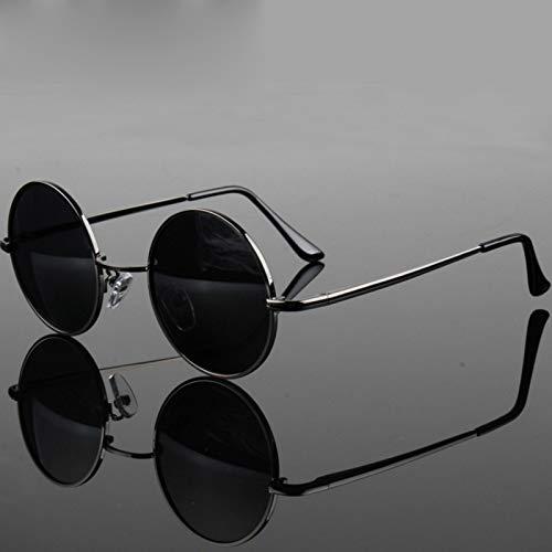 JYTDSA Round Polarized Sunglasses Men Sun Glasses Women Metal Frame Black Lens Eyewear