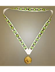 MI3 Gold Olympic Style Medal with Brazil Flag Lanyard BRAZIL OLYMPIC MEDAL