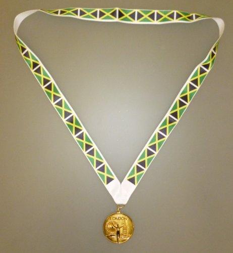 JAMAIKA OLYMPISCHE MEDAILLE -Goldenes Olympisches Spiel Stil Medaille mit Jamaikaner Kennzeichnet Kordel (Jamaika Kinder Kostüm)