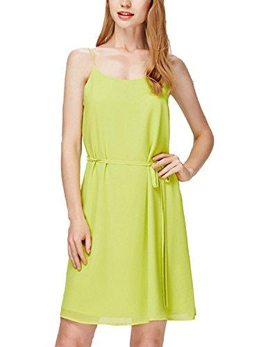 MODETREND Damen Kleid Elegant Chiffon Schlinge Sommerkleid Strandkleid Ballkleid Partykleid Gelb