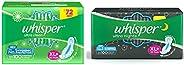 Whisper Ultra Clean Sanitary Pads For Women, Xl+ 50 Napkins And Whisper Ultra Night Sanitary Pads For Women, X