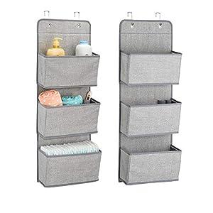 mDesign 2er-Set Stoffschrank zum Hängen über die Tür – je 3 Regalfächer – Hängeschrank aus Stoff für das Kinderzimmer – perfekt auch als Hängeregal für den Flur oder das Schlafzimmer geeignet – grau