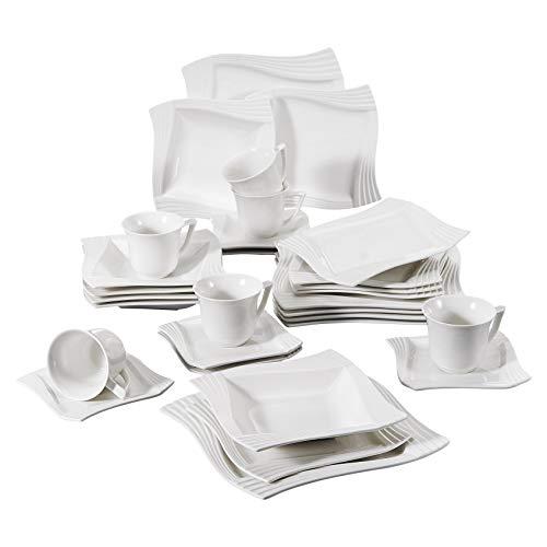 MALACASA, Serie AMPARO, 30 tlg. Cremeweiß Porzellan Geschirrset Kombiservice Tafelservice mit Kaffeetassen, Untertassen, Dessertteller, Suppenteller und Speiseteller je 6 tlg für 6 Personen