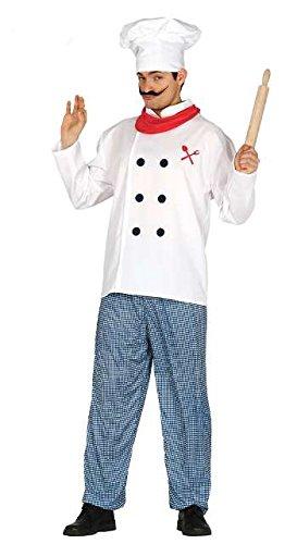 Koch Kostüm für Herren Bäcker Pizzabäcker Herrenkostüm Chefkoch Herrenkostüm Gr. M - L, Größe:L (Karneval Kostüm Italien)