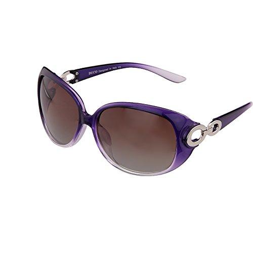 DUCO Damen Klassisch Stern Sonnenbrille polarisiert 100% UV-Schutz 1220 (Lila)