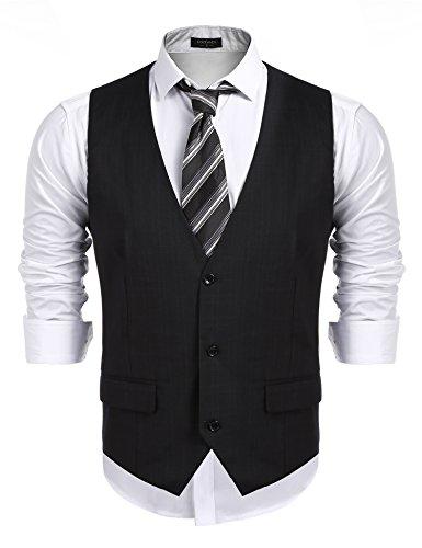 Burlady Weste Herren Anzug V-Ausschnit Vintage Geschäftsweste Anzugweste Slim Fit Smoking Sakko Herrenweste Ärmellose Westen Business Hochzeit