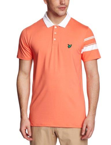 Club Green Eagle Herren Poloshirt, kurzärmlig, ein Ärmel gestreift Orange - Fire