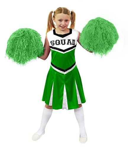 ILOVEFANCYDRESS Kinder Cheerleader KOSTÜM VERKLEIDUNG VERSCHIEDENEN GRÖSSEN +MIT ODER Pompoms= Aufschrift-Squad=2 Pompoms+Kleid-GRÜN/MEDIUM