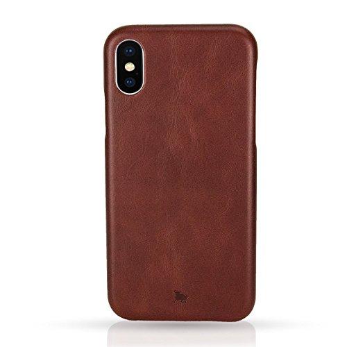 BULLAZO Menor Classic, Edle Apple iPhone X 10 XS 10S Hülle aus Leder, Braun
