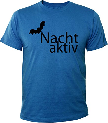 Mister Merchandise Herren Men T-Shirt Nacht aktiv, Fledermaus Tee Shirt bedruckt Royal