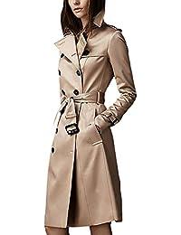 Gabardina Mujer Largos Fashion Classic Doble Botonadura Abrigos Primavera Otoño Manga Larga De Solapa Slim Fit