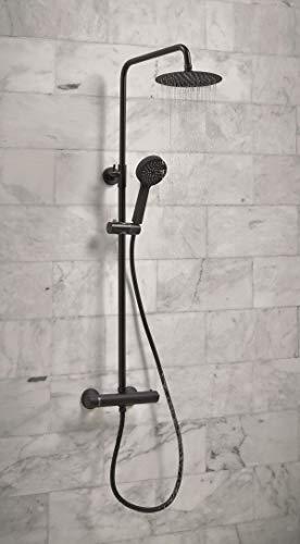 Aquadream Dusche mit Thermostat, mit starrer Duschstange und Umsteller, rund, Schwarz