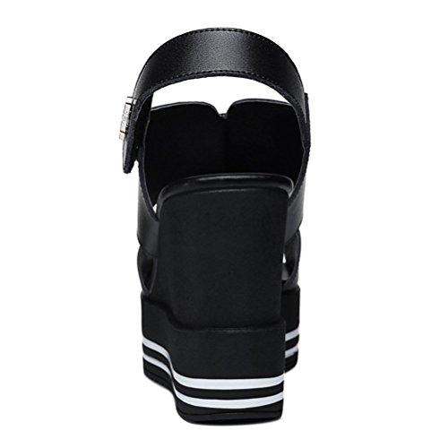 Modische Bequeme Sommer Damen Kühle Sandalen Dicke Sohle Keilabsatz Einfache Slip-on Offene Fischkopf Zehen Schnellverschluss Schwarz W15Fw