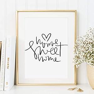 Kunstdruck, Sprüche Poster: Home sweet home | Hochwertiges und festes Premiumpapier | Ohne Rahmen