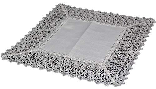 Tischdecken 40x40 cm Mitteldecke Eckig Leinenoptik Spitze Decke Deckchen Landhaus - X 40 Tischdecke 40