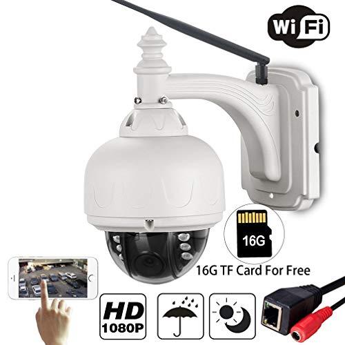 CCSXT HD 1080P WiFi IP-Kamera Wasserdichte Sicherheits-Dome-Kamera mit 4fach-Zoom, Autofokus, 355 ° Pan / 90 ° Tilt Nachtsicht, für Baby/Haustier/ältere Menschen,4xzoom+16GB -
