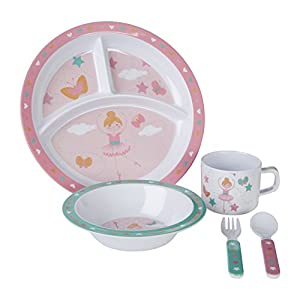 Premier Housewares Mimo Kids Bella Ballerina Dinner Set 5 Piece, Melamine, Multi-Colour, 11 x 32 x 29 cm