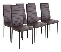 Idea Regalo - Albatros 2701 MILANO - Set di 6 sedie da pranzo, marrone