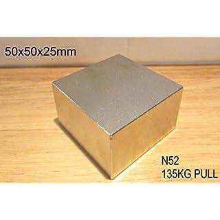 AOMAG N52 Neodymium Block Magnet 50X50X25 125KG Pull Very Powerful NEO Magnet Mro DIY