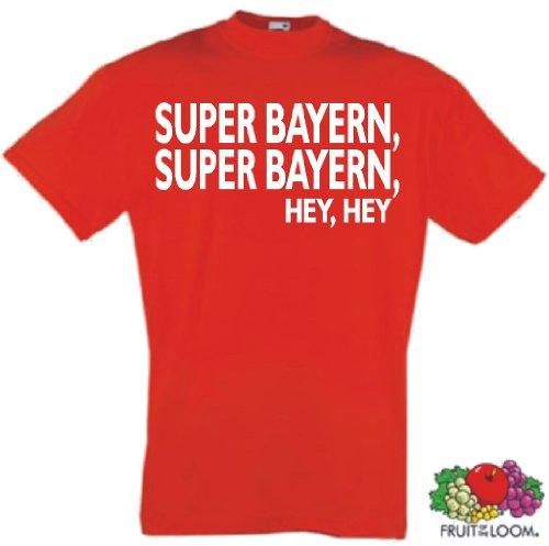world-of-shirt Herren T-Shirt Super Bayern Super Bayern Hey Hey (T-shirt Hey Roten Hey)
