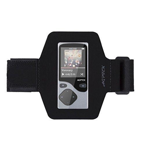 AGPTek MP3 Armband Hülle Case für AGPTek A06 Bluetooth MP3 Player mit veränderbarer Länge und Safey Design für Bewegung, Gymnastik, Jogging, Workout, Rad fahren, Wandern, Kanusport, Wandern, Reiten, Garten, Golf, Einkaufs, Rollerblading, Downhill, Langlaufen, Hausarbeit und mehr, Schwarz