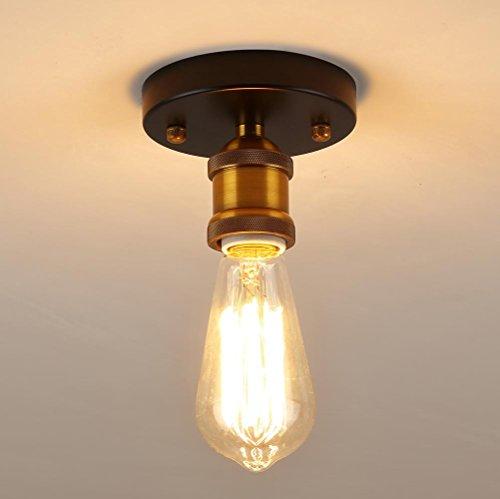 Herogen Plafonnier semi-affleurant de taille mini vintage sans abat-jour, 1 support de céramique de lampe de la tête E27