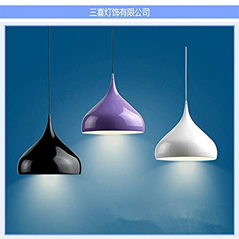 CHENWEIXXOO Modern minimalist chandeliers simple aluminium chandelier lamp single head lamp living room lamp restaurant three-headed , shade outside matte black oxide gold , diameter