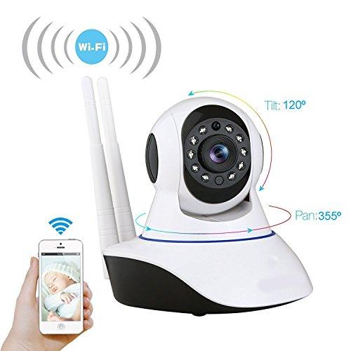 Cámara Video Vigilancia y Vigila Bebés. WiFi Camara Nocturna HD 1,0 con detección de movimientos, Micrófono y altavoz. Rotación Horizontal y Vertical