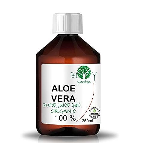biOty garden Organic Aloe Vera Juice 99.99% Cold-pressed, genuine, liquid, without thickeners (250 ml I 8.79 Fl