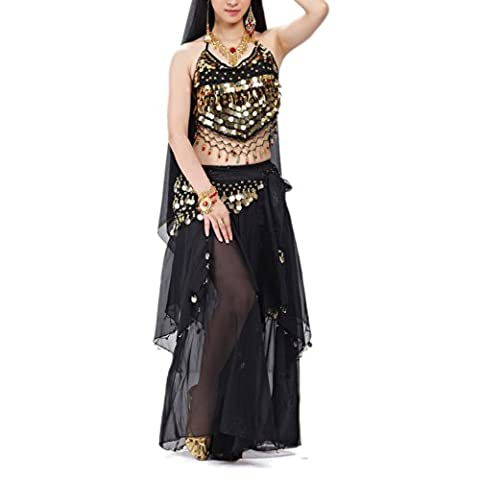 BellyLady Professional Belly Dance Costume, Halter Bra Top, Hip Scarf and Skirt BLACK