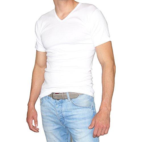 SGS 2-3 Er Pack T-Shirts Kurzarm mit V-Neck Ausschnitt Unterziehshirt Herren Unterhemd Baumwolle Uni Schwarz-Grau-Weiß von Weiß - 3.Stück
