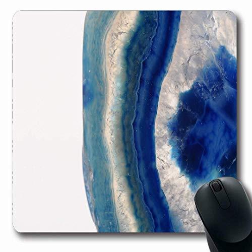 Luancrop Mousepads Mineralblauer Achat Slice Stone Details Muster Precious Close Sea White Agathe rutschfeste Gaming-Mausunterlage Längliche Gummimatte -