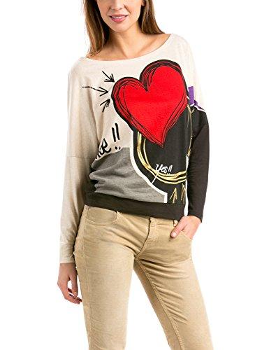 Desigual - TS_LEO, T-shirt da donna, multicolore (algodón 1015), 42