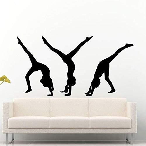ONETOTOP DREI Turner Fitness Mädchen Silhouette Wandaufkleber für Gym Hintergrund Tapete Aufkleber Mädchen Schlafzimmer Kunst Decor Wandbilder 84 * 42 cm