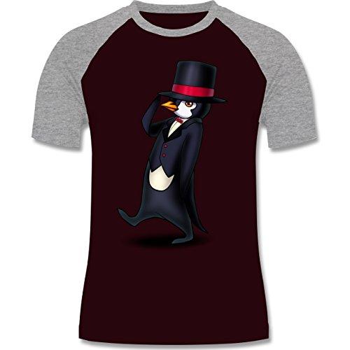 Sonstige Tiere - Pinguin in Frack - zweifarbiges Baseballshirt für Männer Burgundrot/Grau meliert