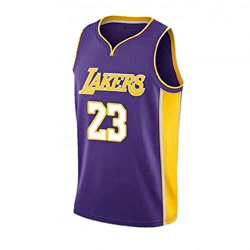 BUY-TO Basketball Jersey USA NBA Lakers Lebron James 23 für Männer,Jersey-Purple,M