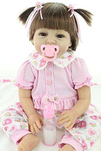ZIYIUI Reborn Bebé muñeca de Silicona Suave de 22 Pulgadas 55cm Realista Lindo de la Muchacha del Vestido Rosado del Juguete Reborn Baby Doll Muñeca Hecha a Mano,certificación EN71
