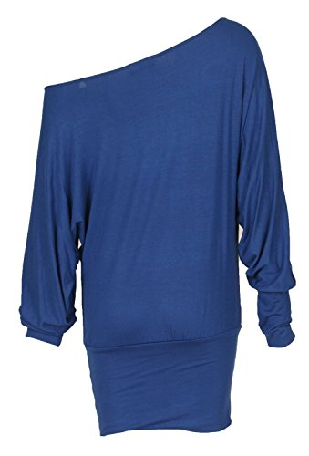 Fast Fashion - En Haut Manches Longues Sur L'épaule Off Embrassez Moi Me Bercer Fille Foil Batwing - Femmes Bleu Royal