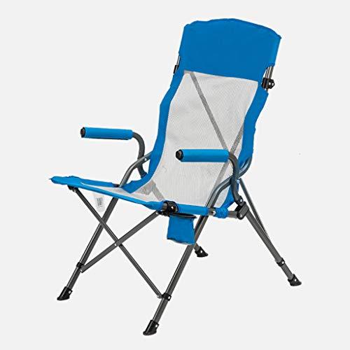 SMBYLL Chaise Pliante d'extérieur, siège Moelleux avec accoudoirs décontractés, Pique-Nique en Plein air et Visite Autonome Chaise Pliante (Couleur : Bleu)