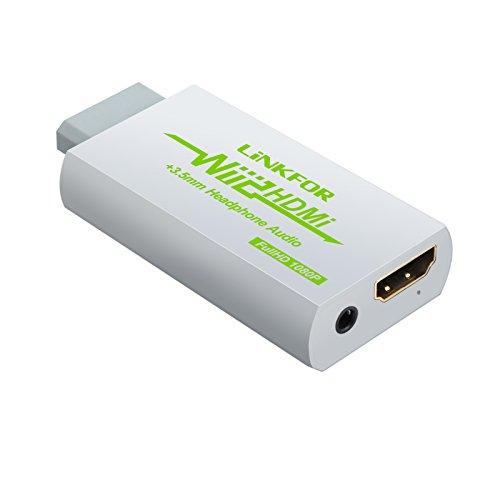 LiNKFOR Wii HDMI Konverter 1080p Wii zu HDMI und 3,5-mm-Audioausgang Unterstützung ETC NTSC PAL Wii-Eingang HDMI 3,5-mm-Ausgang Kompatibel mit HDTV-Kopfhörer - Weiß