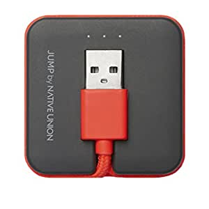 [Apple MFi Certified] Native Union JUMP Cable - World's first 2-in-1 charging cable & compact portable battery booster - Lightning to USB for iPhone, iPad, iPod (Coral Red)
