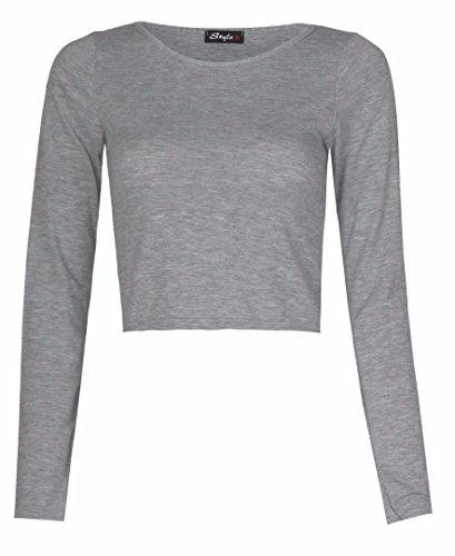 Frauen Plain Langen Ärmeln Viscose Jersey Kurz Top Grau