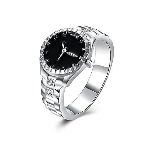 Thumby Cuivre Argenté 5.6g Mode Montre - Bracelet En Forme De Bague De Diamant pour les femmes,white,8
