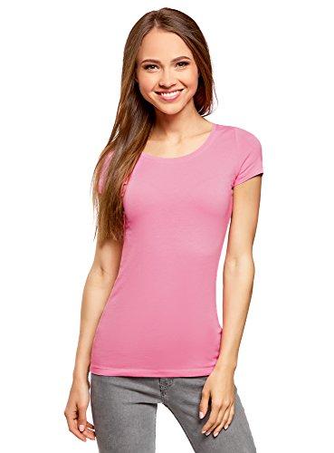oodji Ultra Damen Tailliertes T-Shirt Basic (3er-Pack), Rosa, DE 34 / EU 36 / XS