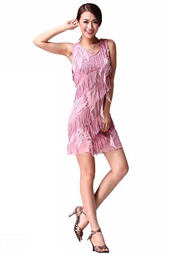 FaithYoo Damen Schößchen Kleid One size Hellrosa