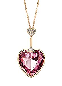 Ananth Jewels Swarovski Elements Pink Crystal Heart Shaped Gold Plated Pendant Necklace for Women