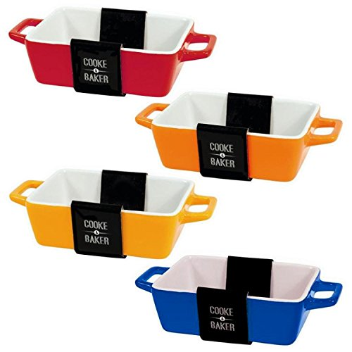 Set Of 4 Rectangular Bright-coloured Small Oven To Table Lasagne/ Pie/ Casserole/ Tapas/ Baking Dish (5x 10x 12cm)