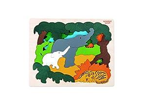 Hape- Puzzle encajable Infantil Capas Animales Asia (Barrutoys E6521)