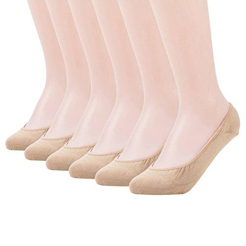 MANZI Damen 6 Paare füßlinge Non Slip Unsichtbar Socken No Show Socken mit Rutschfester Silikon Non-slip-gummi