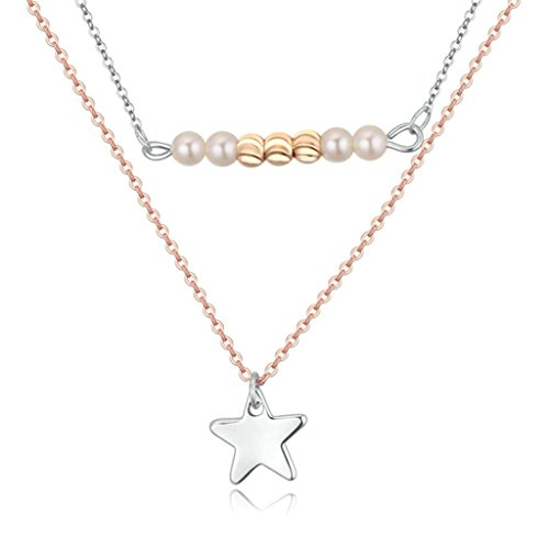 Daesar Schmuck Damenkette Vergoldet Sterne Halskette Zirkonia Strass Anhänger Halskette für Frauen